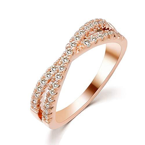 �ische und amerikanische Mode Schmuck hochwertigem Messing Kristallzircon-Mosaik-Kreuz hohler Ring-Endstück-Ring Damen Schmuck ()