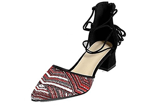 NobS Pelle di punta in pelle semplice 5cm Chunky Heel Hollow Hollow Strap Sandali Peluche Pattini Casual Scarpe red and white stripes