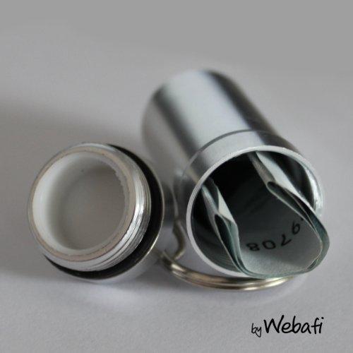 Schlüsselanhänger mit großem Behälter in SILBER, zB als Pillendose, für Geldscheine o. Kleinteile, Pillenbox mit Schlüsselring Tablettendose für Medikamente