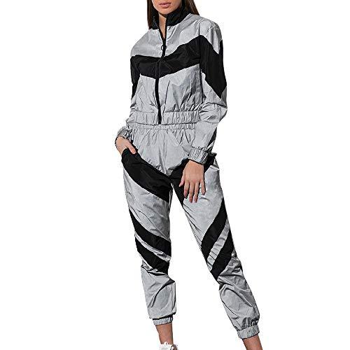 Shujin Damen Reflektierende Sportanzug Bekleidungsset 2 Stück Bauchfrei Sportjacke mit Reißverschluss und Jogginghose Freizeitanzug Outfits Yoga Trainingsanzug