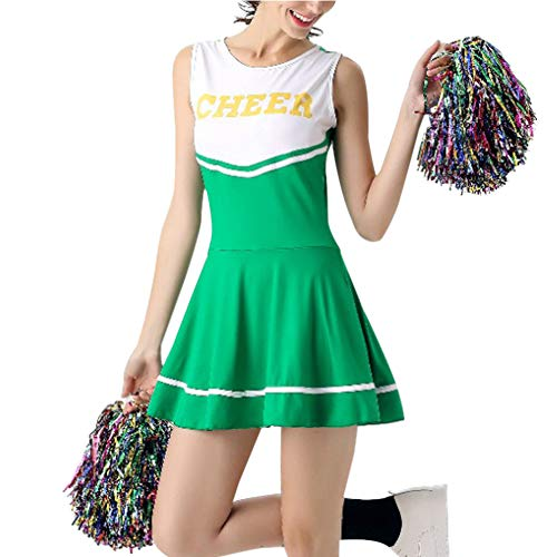 Huatime Cheerleader Kostüm Mädchen - Damen High School Musical Cheerleading Uniform College Sport Fancy Kleid Tanz Kleidung Party Bühne Performance mit Pom Poms