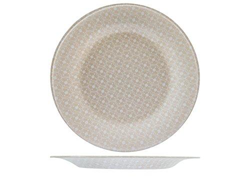 Bormioli Rocco 19308r 6 assiettes verre céramique plan 27 cm, beige