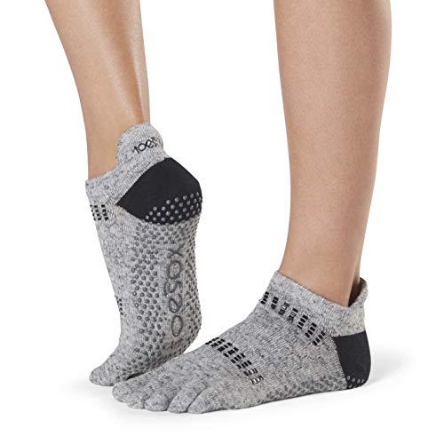 Toesox Damen Women\'s Low Rise Full Grip Non-Slip for Ballet, Yoga, Pilates, Barre Toe Socks, Jet m