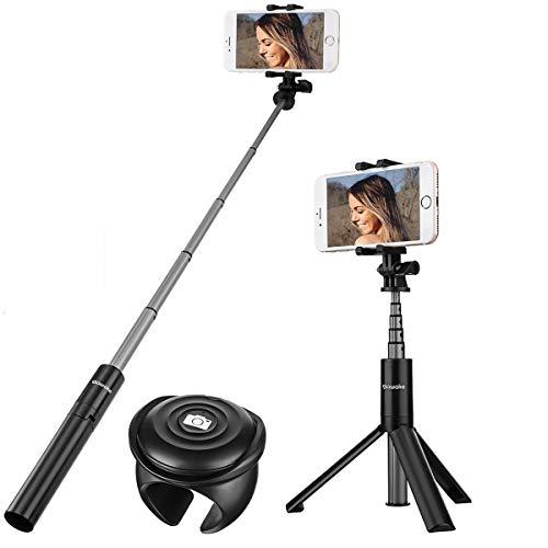 Bastone selfie, sawake bluetooth treppiede table camera 2 in 1, selfie stick con telecomando, portatile, piccolo, senza fili in alluminio estensibile selfie stick monopiede per iphone x 8 8 plus 7 7 plus 6s android samsung galaxy huawei p9 p10 p20 xiaomi one plus6 , per schermo da 3,5-6 pollici, mini rotazione a 360 °