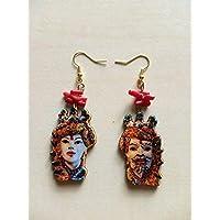 regalo di natale orecchini teste di moro ceramica di caltagirone radice di corallo rosso sicilia barocchi eleganti