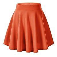 Urban CoCo Women's Basic Versatile Stretchy Flared Casual Mini Skater Skirt (S, Orange)