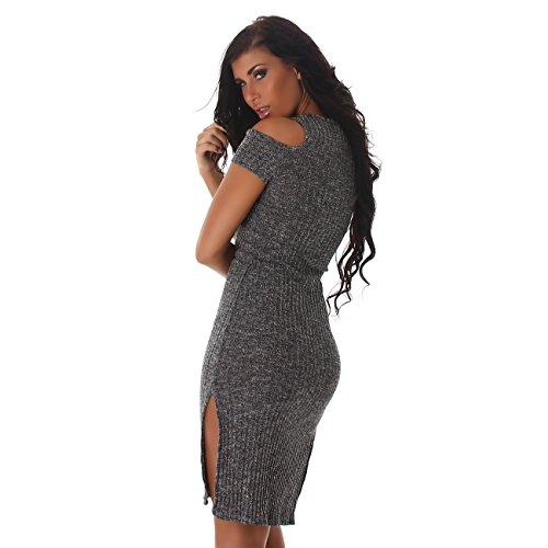 Voyelles Damen Strickkleid, ein Sommerkleid mit vielen dezenten Details, figurbetonend mit V Ausschnitt, elegant Grau