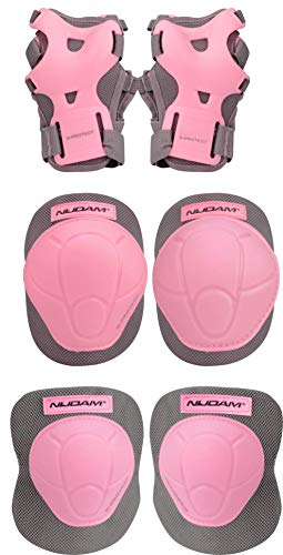 Nijdam Protecciones Rosa Junior Protection Set, Patines, Deporte, Aire Libre, Skate, Grau, Medium