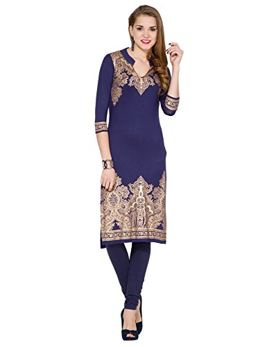 Folklore Women's Straight Kurta (FOKU001568_Navy Blue_X-Large)  available at amazon for Rs.1044
