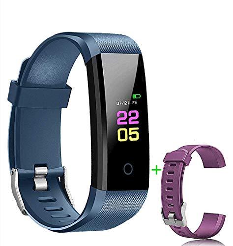 Pulsera Inteligente, rastreador de Actividad Monitor de Ritmo cardíaco a Prueba de Agua IP67 Deporte Mujer Hombre Niño Presión Arterial Cronómetro Contador de frecuencia (Azul)