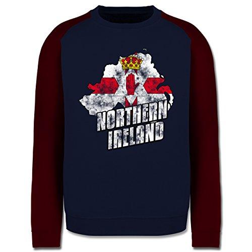 EM 2016 - Frankreich - Northern Ireland Umriss Vintage - Herren Baseball  Pullover Navy Blau/
