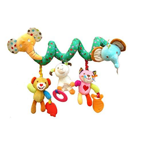 HENGSONG Spirale Aktivität Kinderwagen Baby Plüschtiere Kleinkindspielzeug Spielzeugauto Drehmaschine Hängenden Niedlichen Elefant Spielzeug
