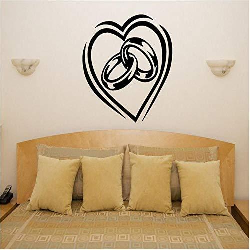 Wandaufkleber Herz Ringe Verlobung Hochzeit Liebe Schlafzimmer Raumapplikation Wandkunst Aufkleber Bild