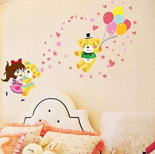 Luzhenyi Cute Girl Hugging Bear Balloon Love Heart Cartoon Wall Stickers Kids Room Girl Baby Bedroom Decor Diy Self-Adhesive Mural Decals 150X77Cm