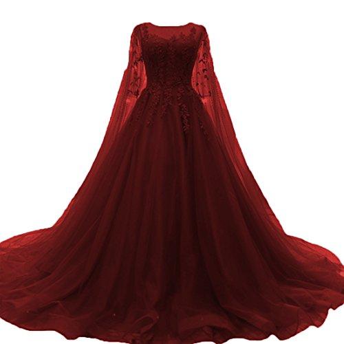 O.D.W Damen Tuell Spitze Vintage Brautkleider Lange Boho Rustikale Hochzeitskleider (Burgund, 52)