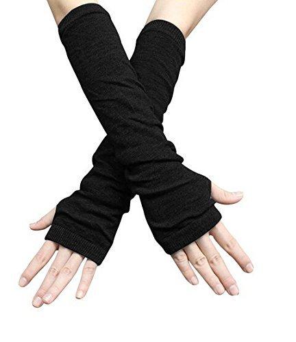 Fingerlose Handschuhe für den Winter, lang, Schwarz