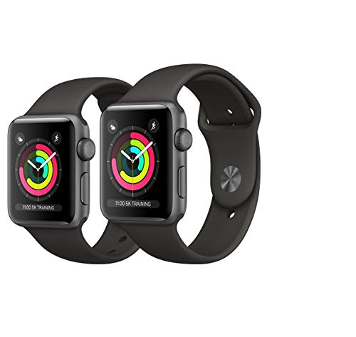 AppleWatch Series3 GPS, 38mm Aluminiumgehäuse, SpaceGrau, mit Sportarmband, Schwarz (Generalüberholt) -