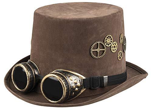 shoperama Brauner Steampunk Herren Zylinder mit Zahnrädern und Goggles Gr. 60 Hut Kostüm-Zubehör (Zahnräder Zahnrad Kostüme)