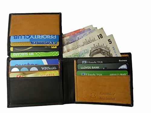 Vera pelle da uomo uomo portafoglio 10 fessure per carte di credito roamlite rl309aw - nero abbronzante n confezione regalo