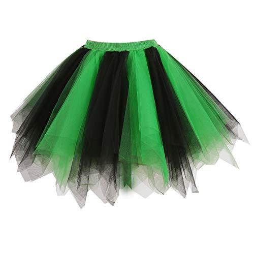 GirstunmBrand Damen 50er Vintage Tüllrock Petticoat Mehrfarbig Bubble Tanzkleid Rock Schwarz Grün-S/M