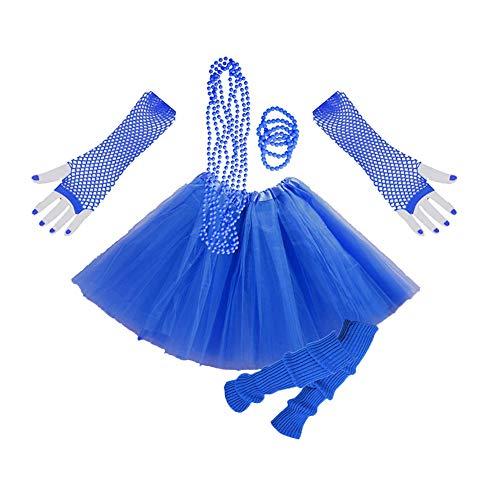 1980s Jahre Kostüm Kleid Zubehör Sets Damen Mädchen Night Out Fancy Party Dress 80er Neon Erwachsener Tutu Beinwärmer Fishnet Handschuhe Halsketten Blau