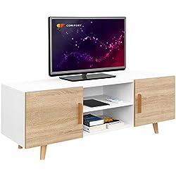 comifort tv85-Meuble TV Salon Style Moderne Nordique Table télévision, Couleurs: Blanc, chêne, Blanc/chêne 140x 42x 50cm