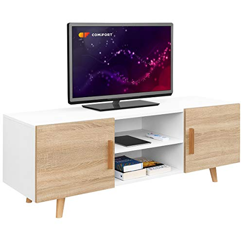 Comifort TV85B/S - Mueble TV Salón Estilo Moderno Nórdico Mesa Televisión, Colores: Blanco, Roble, Blanco/Roble 140x42x50 cm (Blanco/Roble)