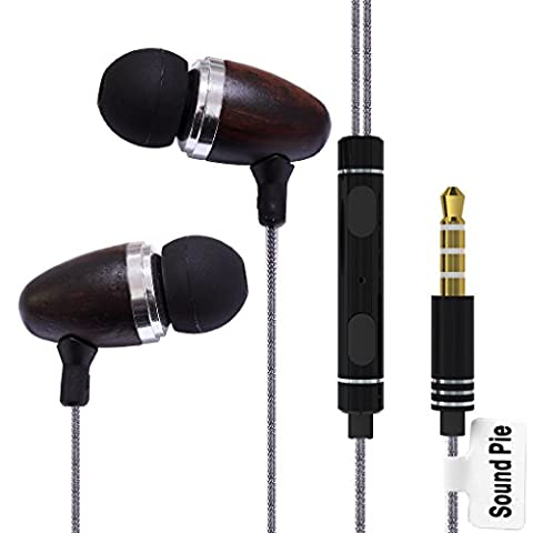 SoundPie SP12 Braid Cable Metal In Ear Isolating Earphones With Microphone Control 3.5mm Connertor For Iphone Samsung (Black Wood)