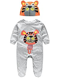 Minuya 2pcs Baby Girl Boy Cartoon Panda Print Long Sleeve Romper with Hat for Baby