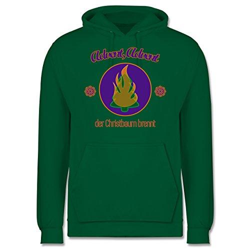 Weihnachten & Silvester - Advent, der Christbaum brennt - Männer Premium Kapuzenpullover / Hoodie Grün