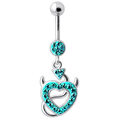 Blue Zirkon Crystal Stein Trendige Teufels Herz Design Sterling Silberbarren Bauch Piercing