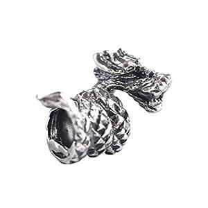 Battle-Merchant Bartperle Drachen/Perle für Dreadlocks aus echtem Silber Wikinger Innendurchmesser 5mm