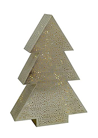 Emporio Arts New Christmas Decorative Tree 40 LED String Light Table Lamp in Mesh Etching, Iron, Silver, Battery Operated