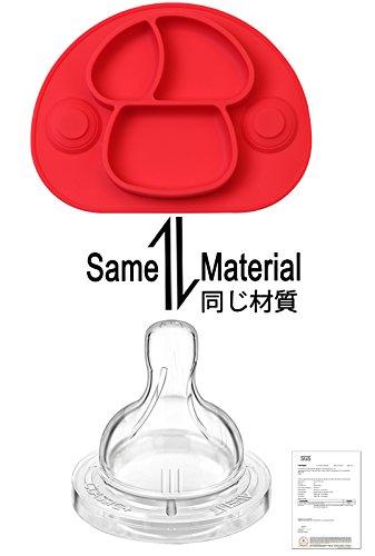 Imagen para DEBAIJIA Bebé Niños Plato de Silicona Fuerte Succión Ventosa Divididas Placemat Grado Alimenticio Infantil Antideslizante FDA y Sin BPA, Microonda, Lavavajillas, Congelador Seguro - Rojo