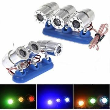 MHDS Bheema 2 Stück 12 V Motorrad Multicolor 3 LEDs Deko Aufkleber Stroboskop Licht (Stroboskop-lichter Für Motorräder)
