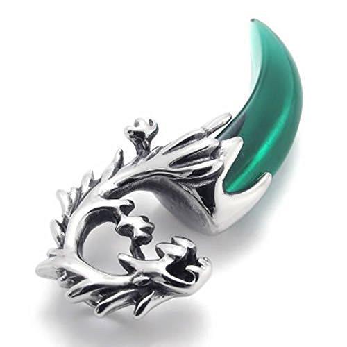 Ciondolo Retro verde dell'acciaio inossidabile del lupo del dente Collana per gli uomini