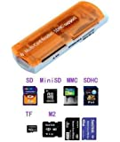 King of Flash 8in1 Multi Card Reader USB All IN One SDHC TF Micro SD Memory Card Reader Orange Colour