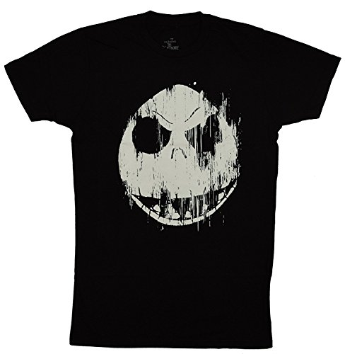 Disney Nightmare Before Christmas Jack Skellington Face T-shirt (Large, Black)