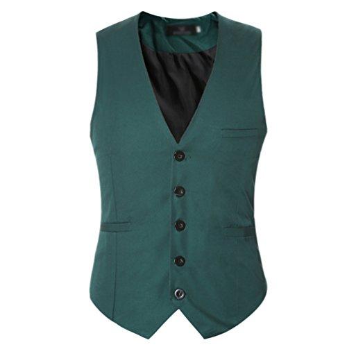 CHENGYANG Homme Mode Gilet Costume Veste Slim Fit Business Mariage Sans Manches Blouson (Vert, L)