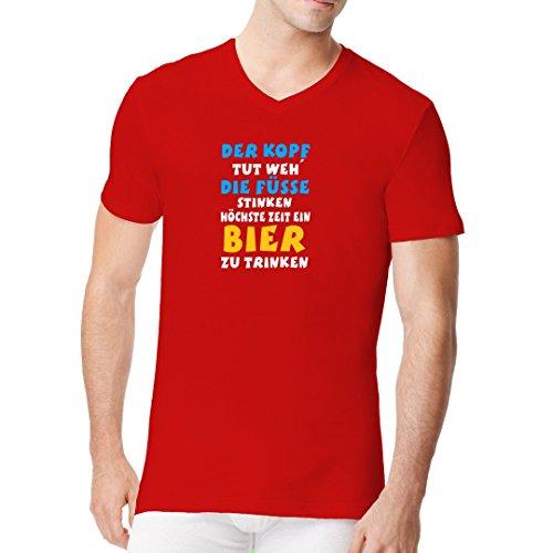 Fun Sprüche Männer V-Neck Shirt - Kopf Tut Weh by Im-Shirt Rot