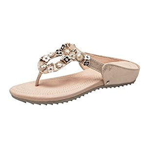Women Sandals Women Summer Bohemia Flip Flop Shoes Flower Rhinestone Flats Elegant Beach Shoes
