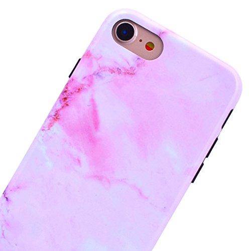GrandEver iPhone 7 Plus Hülle Weiche Silikon Marmor Serie Handyhülle TPU Bumper Schutzhülle für iPhone 7 Plus Rückschale Klar Marble Case Handytasche Anti-Kratzer Stoßdämpfung Ultra Slim Rückseite Sil Rosa