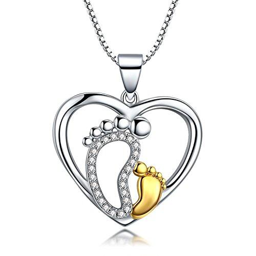 Herz Halskette Anhänger 925er Sterling Silber Mutter & Baby Füße Kette Damen Zirkonia Geschenk für Frauen Mädchen Mutter exquisite Geschenk-Box