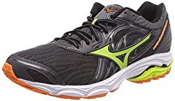 Mizuno Men's Wave Inspire 14 Running Shoes, Multicolor (Magnetlimepunchvibrantorange 40), 10.5 Uk