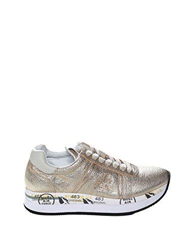 PREMIATA Sneaker in Pelle Metallizzata Oro Con Para in Gomma