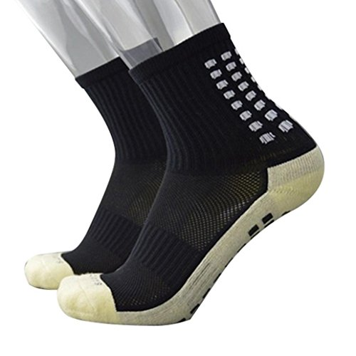 zhouba Anti-Rutsch Fußball Socken Herren Mid Kalb Sport Socken Fußball kurz Strümpfe, schwarz