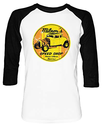 Milners Geschwindigkeit Geschäft Herren Damen Unisex Baseball T-Shirt Weiß Schwarz 2/3 Ärmel Women's Men's Unisex Größe XL Men's White T-Shirt X-Large Size XL