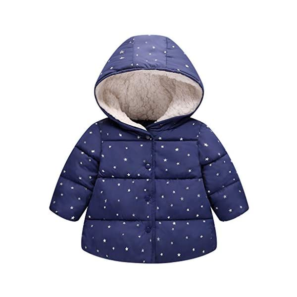 Algodón Abrigo para Niñas, Chaquetas con Capucha Invierno Calentito Ligero Abrigo Ropa para Bebés Niños 1