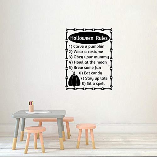 JIWAWAR 56 CM x 73,6 CM Halloween Regeln Worte Buchstaben Herbst Halloween Decor Art PVC Wandaufkleber