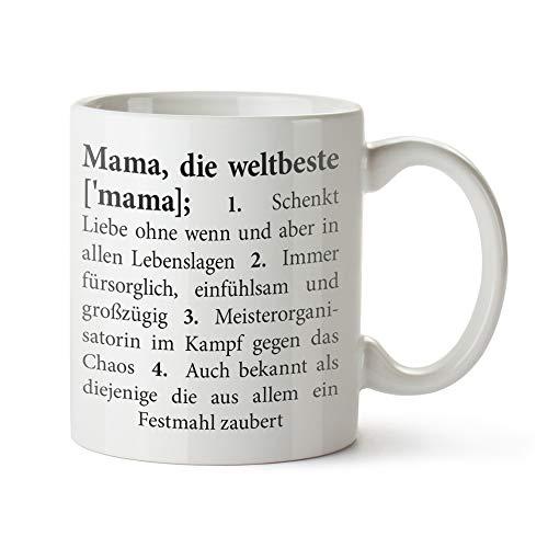 Tasse mit Aufdruck – Definition Mama - Standard – Bedruckte Kaffeetasse in weiß als Mama...